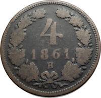 1861 AUSTRIA King Emperor Franz Joseph I Antique 4 Kreuzer Austrian Coin i74566