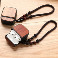 Strap Walnut Rosewood Natural Wooden Airpods Case Cover For Apple AirPods