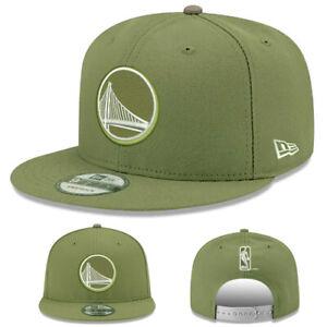 New Era Golden State Warriors Snapback Hat NBA Team Basic OLive Green Cap