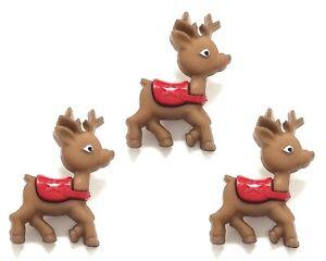 3 pcs. Christmas Baby Reindeer Buttons Jesse James Dress It Up Embellishments