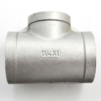 """1-1/4"""" x 1"""" x 1-1/4"""" Female Tee Threaded Reducer Pipe Fitting Steel SUS 304 NPT"""