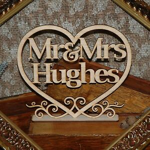 Wooden Rustic Bridal Table Sign.Mr & Mrs personalised wedding decor custom names