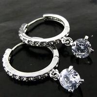 EARRINGS REAL 925 STERLING SILVER S/F DIAMOND SIMULATED HUGGIE HOOP DESIGN