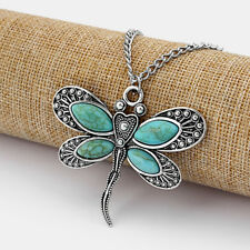 Large Dragonfly Charm Pendant Antique Silver W/ Faux Turquoise Stone Necklace
