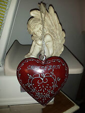 Plaque de porte coeur rouge «salle de bain»18*18 cm