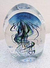 WV American Art Glass Hand Blown Green and Blue Jellyfish Paperweight