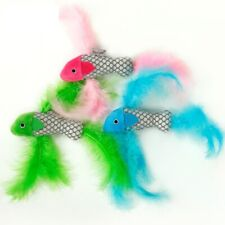 FISH SHAPE CAT SOFT FEATHER INTERACTIVE PLAY KITTEN PET TEASER TOY