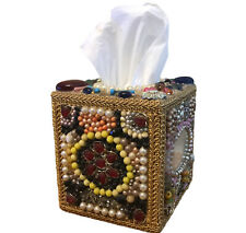 Vintage Jeweled Tissue Box Cover Pearls Rhinestones Shells Jewelry Antique Art