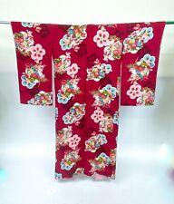 Gorgeous! VTG Rayon Silk Traditional Print Maroon  Japanese Furisode Kimono