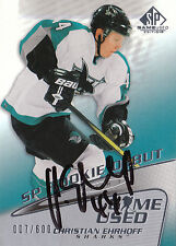 CHRISTIAN EHRHOFF SHARKS AUTOGRAPH AUTO 03-04 SP GAME-USED ROOKIE 007/600 *22347