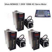 NEMA52 3Axis 10NM 1.5KW AC Servo Motor Drive Kit 1500RPM +CNC Controller System