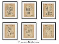Set of 6 Whiskey Bourbon Patent Wall Art Prints -8x10- Pub Bar ManCave Him Gifts