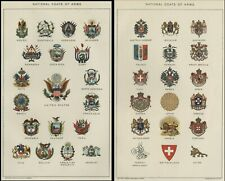 National Coats of Arms TWO Authentic 1903 (Dated) True Stone Chromolithographs