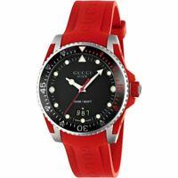 Gucci YA136309 Dive Black Dial Rubber Red 40mm Men's Swiss Watch