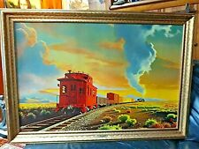 The *RED CABOOSE* GOLD Framed Print by Paul Detlefsen 36x24 GORGEOUS!