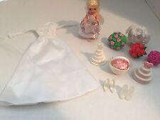 Barbie Wedding Dress Veil Bouquet Cake Blonde Kelly Doll Flower Girl Lot