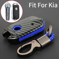 Carbon Silicone Remote Key Cover Case Fob Holder For Kia Stinger K900 2018 2019