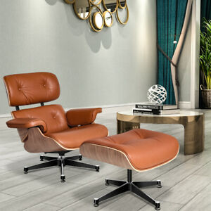 Retro Eams Lounge Chair & Footstool Ottoman Full Real Leather Armchair Recliner