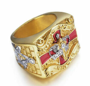 Knights Templar Soldiers of Christ Masonic Ring Cross Stainless Gold Harley US