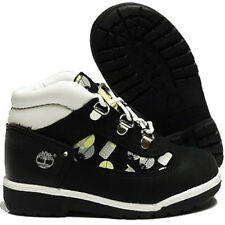 Timberland Boys Girls Ringtone Boots Black White Kids Leather Field Boot 25872