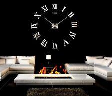XXL Design Wanduhr 3D Wandtattoo Deko Edelstahl Spiegel  Chrom Luxus Silber 016