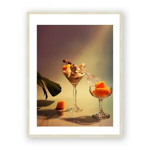 Cocktail and Plants Framed Print , Natural Tones Wall Art, Kitchen Wall Decor