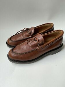 Vintage J. Crew  Men's Shoes Brown Pebbled Leather Size 11.5  Made in Mexico