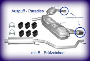 Abgasanlage für Opel Signum CC 2.0T, 2.2 direct & 3.2 V6 Endrohre Edelstahl +Kit