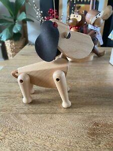 Quality Genuine Beech Wood Dog with Felt Ears- Super Cute - Decoration, Figurine