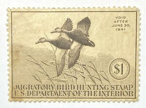 US #RW7 $1 1940 Federal Duck Migratory Bird Hunting MLH Mint Lightly Hinged