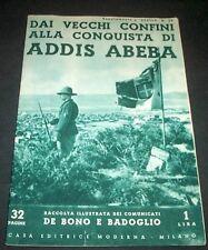 Conquista Addis Abeba Raccolta comunicati De Bono Badoglio 1^ ed. 1936