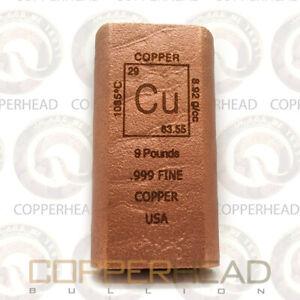 9 Pound lb (144 oz) Element Copper Bar .999 Fine Bullion Ingot Pounds lbs 10 (W)