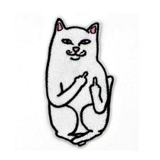 """NAUGHTY FLIPPING OFF CAT IRON ON PATCH 3.75"""" Rude Kitty Middle Finger Applique"""