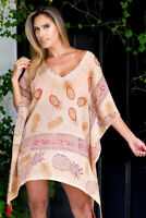 AZUCAR LADIES BEIGE COTTON PINEAPPLE PRINT BEACH COVERUP TUNIC BLOUSE - LCT881