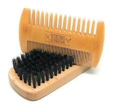 Viking Revolution Beard Comb & Beard Brush Set for Men - Natural Boar Bristle