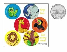 60 Jungle Zoo Animal Dot Stickers Kid Reward Party Goody Loot Bag Favor Supply