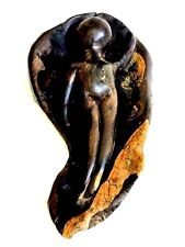 African Signed Wood Carved Statue Sculpture Africa Mother Land + Female Figure