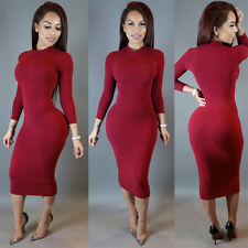 Women Long Sleeve Bandage Bodycon Evening Party Cocktail Winter Turtleneck Dress