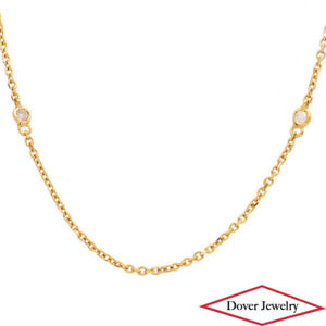 """Estate 0.23ct Diamond By The Yard 14K Yellow Gold 24"""" Long Chain Necklace NR"""