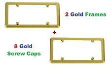 2 Gold Frames + 8 Gold Screw Caps New