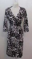 Diane von Furstenberg New Julian two Snow Cheetah Large 10 wrap dress gray black
