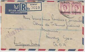 KUWAIT 1955 registered cover *KUWAIT-GOA, PORTUGESE INDIA*