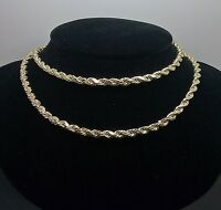 "Real 10k Yellow Gold Rope Chain Necklace Diamond Cut 4mm 20"" inch Franco,Cuban N"