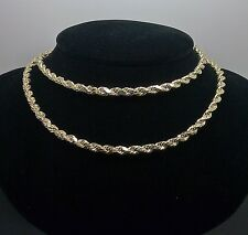 "10K Men's Yellow Gold Rope Chain With Diamond Cuts 4mm 24"" 7.4gm Franco, Italian"