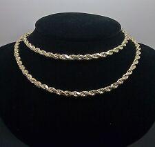 "10K Men's Yellow Gold Rope Chain With Diamond Cuts 4mm 22""  6.8gm Franco,Italian"