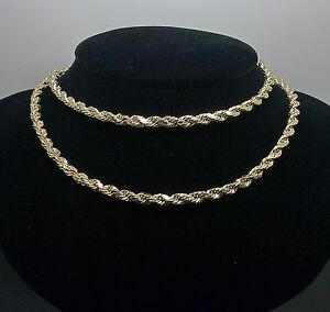 """REAL 10K Yellow Gold Rope Chain Necklace Diamond Cut 4mm 22"""""""