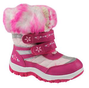 GIRLS SNOW BOOTS WINTER WELLIES WARM KIDS SNOW MUCKER SHOES WELLINGTON FUR NEW
