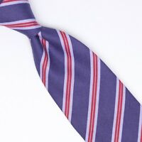 John G Hardy Mens Cotton Necktie Navy Light Blue Red Repp Stripe Weave Woven Tie