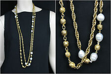 Chanel Double Strand Gold-Tone Faux Pearl & Metal Bead Long Necklace