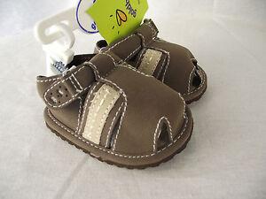 BNWT Baby Boy's 3-6 Months Goldbug Cute Brown Pre Walker Enclosed Toe Sandals
